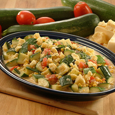 Zucchini and Corn in Cream