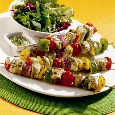 Pesto Chicken & Vegetable Kebabs