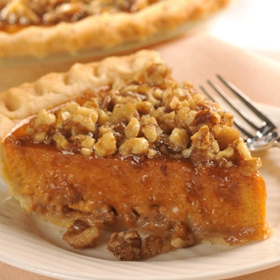 Candied Walnut-Topped Pumpkin Pie