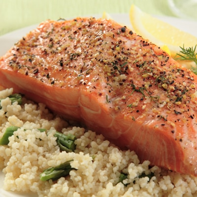 Lemon-Dill Salmon with Asparagus Couscous