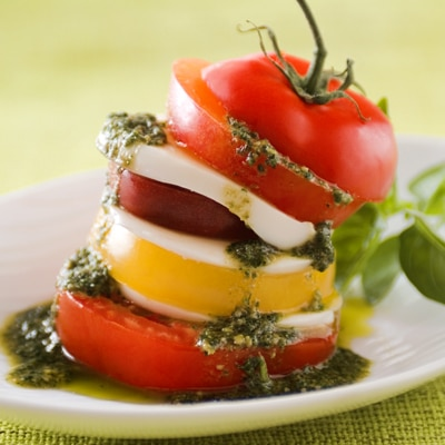 Insalata Caprese with Pesto Vinaigrette (Lighter)