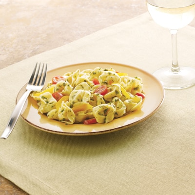 Pesto Tortellini Salad with Grape Tomatoes (Lighter)