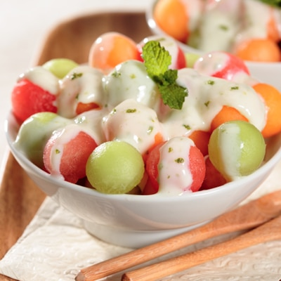 Melon Salad with Tangy La Lechera Sauce
