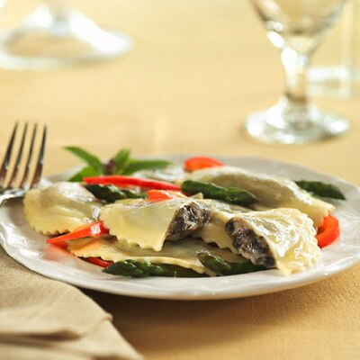 BUITONI® Mushroom Agnolotti with Fresh Asparagus and Red Peppers
