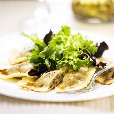 Balsamic Mixed Greens with Wild Mushroom Agnolotti