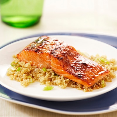 Baked Salmon over Apple-Ginger Quinoa
