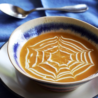 Spiderweb Pumpkin Curry Soup