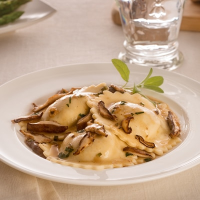 Shrimp Scampi Ravioli with Mushroom and Sage Sauce