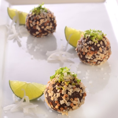 Dark Chocolate Coconut Lime Truffles