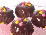 Blissful Brownie Cakes with Chocolate Sauce