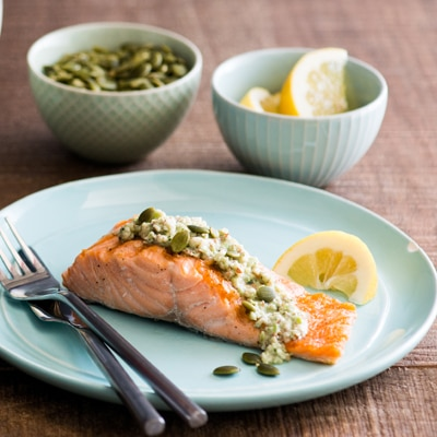 Pan-Fried Salmon with Creamy Nutty Sauce