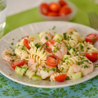Shrimp Pasta Salad with Cilantro-Lemon Vinaigrette Recipe | Meals.com