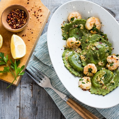 Shrimp with Spinach & Artichoke Ravioli