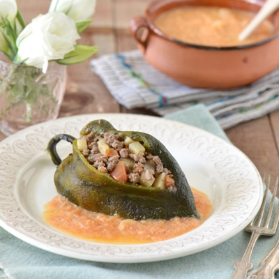 Chiles Rellenos with Creamy Tomato Sauce