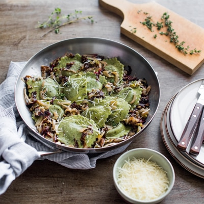 Spinach and Artichoke Ravioli with Sauteed Radicchio and Endive