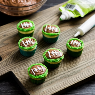 Dulce de Leche-Filled Football Cupcakes