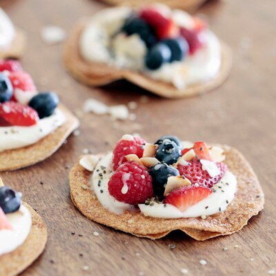 Fresh Fruit & Sweetened Yogurt Open-Face Tacos