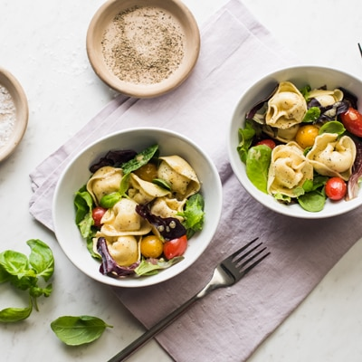 Spring Greens Tortelloni Salad with Red Wine Vinaigrette
