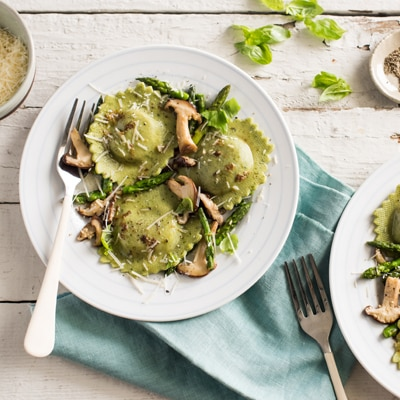 Three Cheese Asparagus Ravioli with Asparagus and Wild Mushrooms