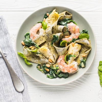 Shrimp & Spinach with Basil Pappardelle