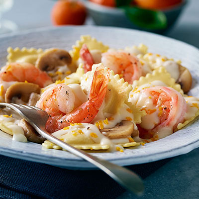 Orange Shrimp and Mushroom Pasta