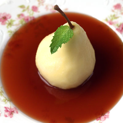 Poached Pears in Balsamic-Red Currant Sauce