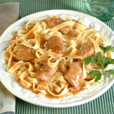 Apricot-Glazed Pork Over Fettuccine