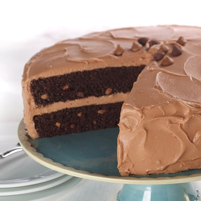 Rich Chocolate Cake With Creamy Peanut Butter Milk Chocolate Frosting
