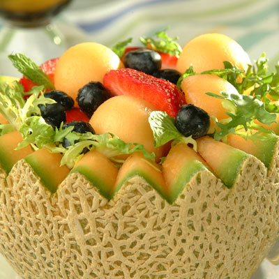 Fruit-Filled Cantaloupe Baskets