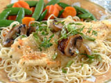 Baked Parmesan Fish with Pasta and Mushroom Medley