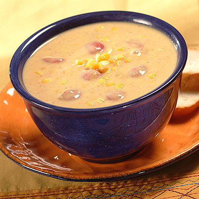 Corn Chowder with Bacon, Leeks and Potatoes