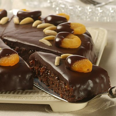 Decadent Fudge Cake with Bourbon-Apricot Filling and Chocolate Ganache