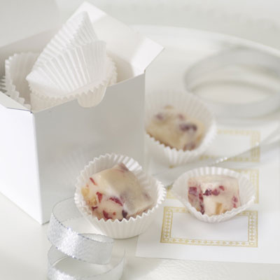 White Fudge with Crystallized Ginger & Cranberries
