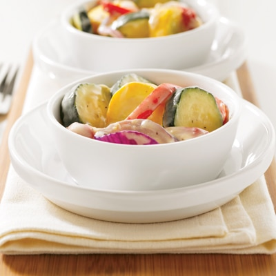 Roasted Vegetables with Creamy White Wine Sauce