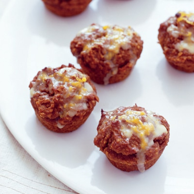 Mini Whole-Wheat Pumpkin Muffins with Orange Drizzle