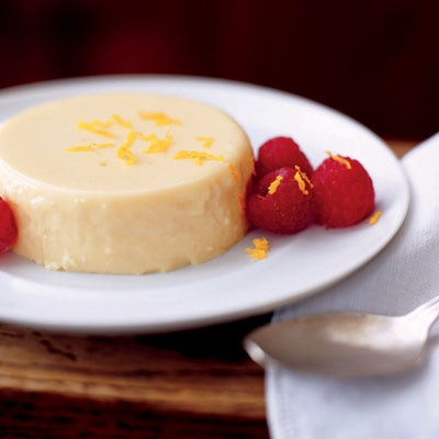 Light Orange Panna Cotta with Fresh Raspberries