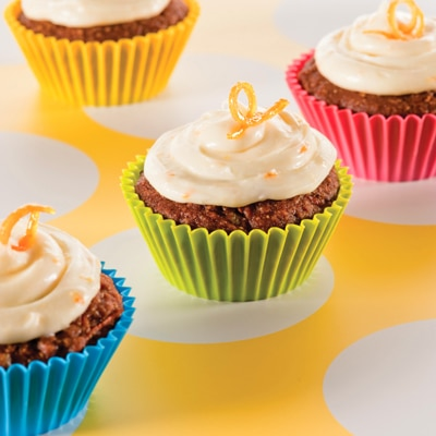 Pumpkin Carrot Cupcakes with Orange-Cream Cheese Frosting