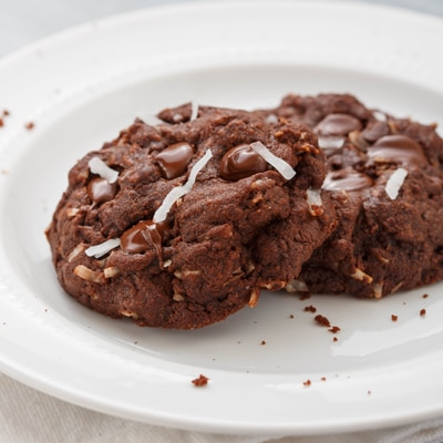 Dark Chocolate Double Coconut Cookies