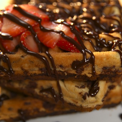 Cookie Waffles with Strawberries and Chocolate Sauce