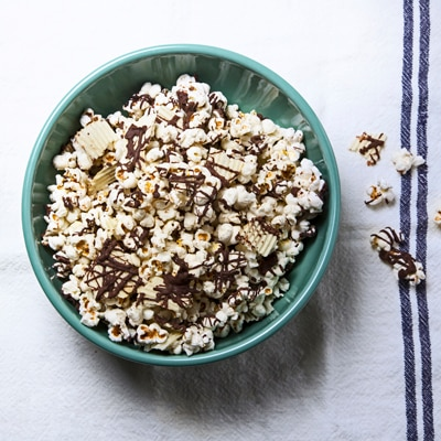 Stovetop Popcorn with Dark Chocolate & Potato Chips
