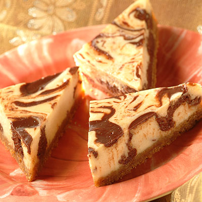 Swirl Of Chocolate Cheesecake Triangles